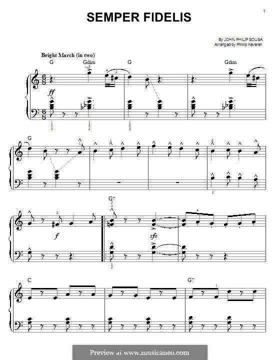 Semper Fidelis : Für Klavier, leicht by John Philip Sousa