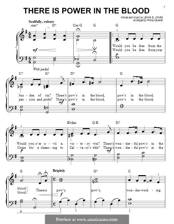 There Is Power in the Blood: Einfache Noten für Klavier by Lewis Edgar Jones