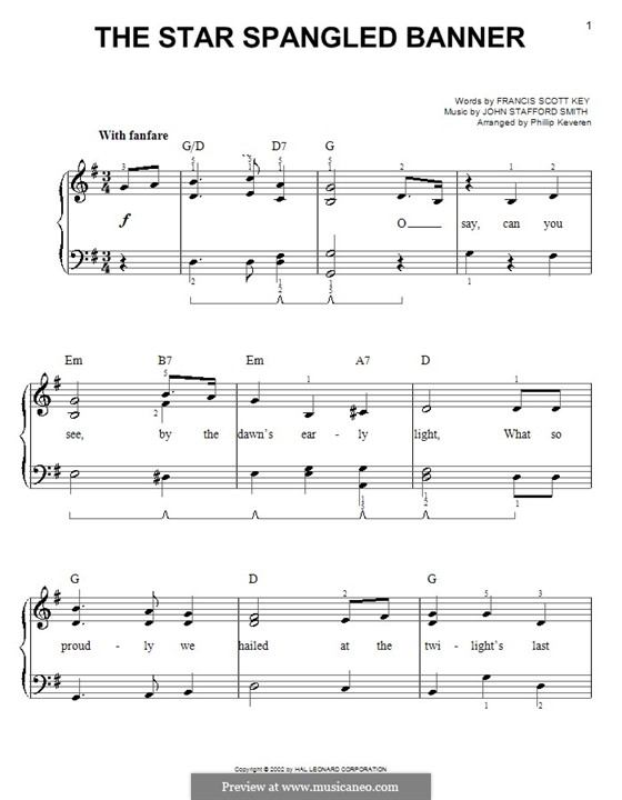 The Star Spangled Banner (National Anthem of The United States). Printable Scores: Für Klavier, leicht by John Stafford Smith