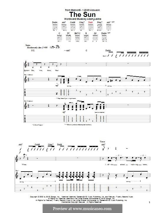 The Sun (Maroon 5): Für Gitarre mit Tabulatur by Adam Levine