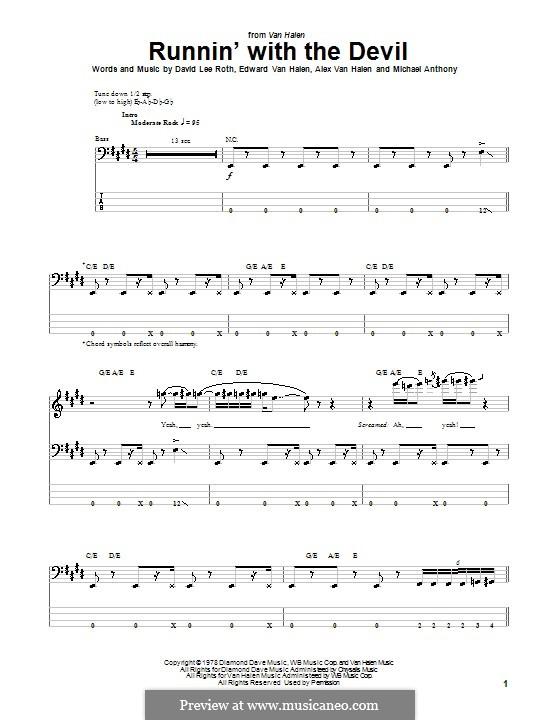 Runnin' with the Devil (Van Halen): Für Bassgitarre mit Tabulatur by Alex Van Halen, David Lee Roth, Edward Van Halen, Michael Anthony