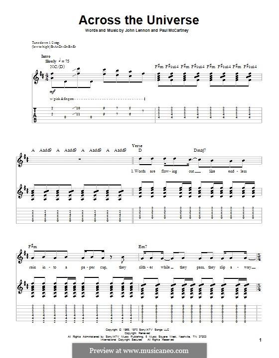 Across the Universe (The Beatles): Für Gitarre mit Tabulatur by John Lennon, Paul McCartney