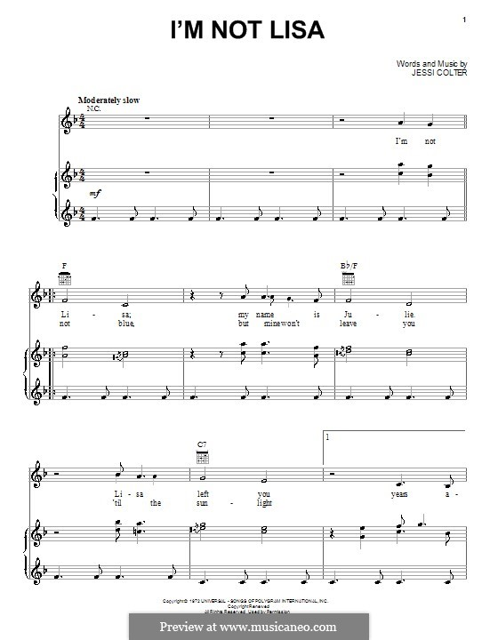 I'm Not Lisa: Für Stimme und Klavier (oder Gitarre) by Jessi Colter