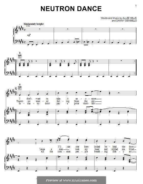 Neutron Dance (The Pointer Sisters): Für Stimme und Klavier (oder Gitarre) by Allee Willis, Danny Sembello