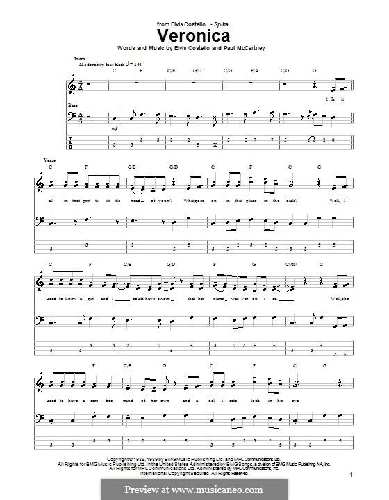 Veronica: Für Bassgitarre mit Tabulatur by Paul McCartney