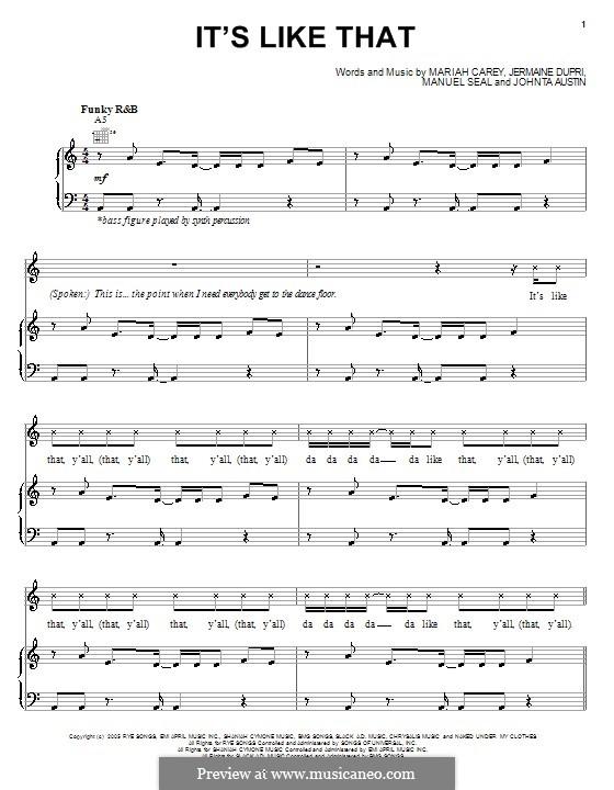 It's Like That: Für Stimme und Klavier (oder Gitarre) by Mariah Carey
