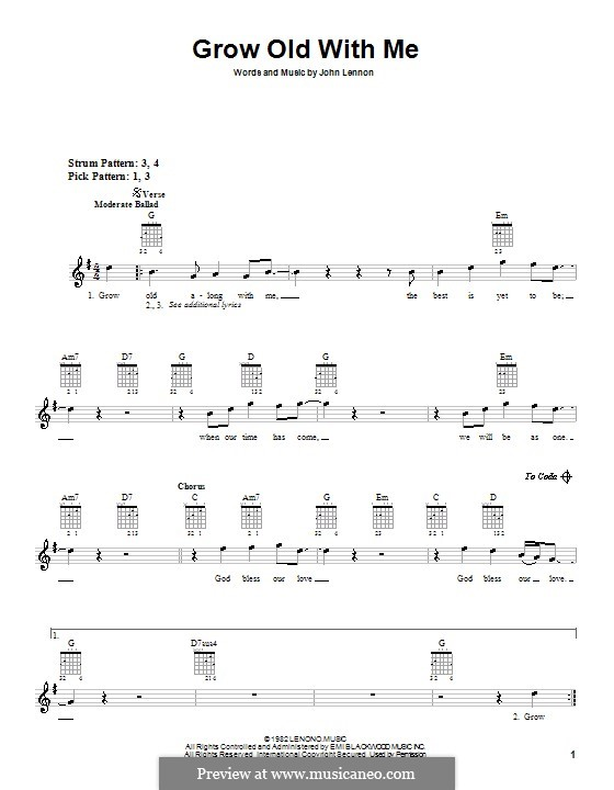 Grow Old With Me: Für Gitarre (mit Schlagmuster) by John Lennon