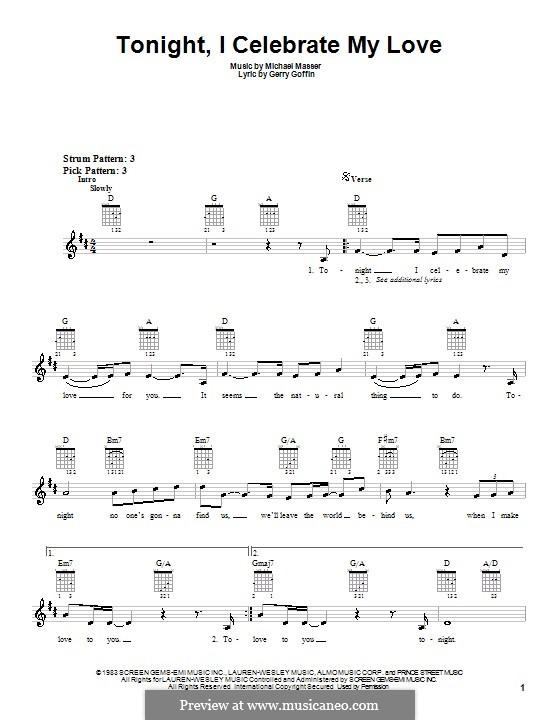 Tonight, I Celebrate My Love (Peabo Bryson and Roberta Flack): Für Gitarre (mit Schlagmuster) by Gerry Goffin, Michael Masser