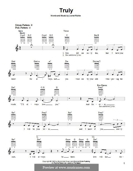 Truly: Für Gitarre (Sehr leichte Fassung) by Lionel Richie