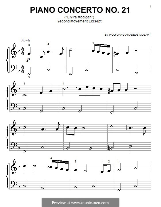 Konzert für Klavier und Orchester Nr.21 in C-Dur, K.467: Teil II (Fragment). Very easy version by Wolfgang Amadeus Mozart