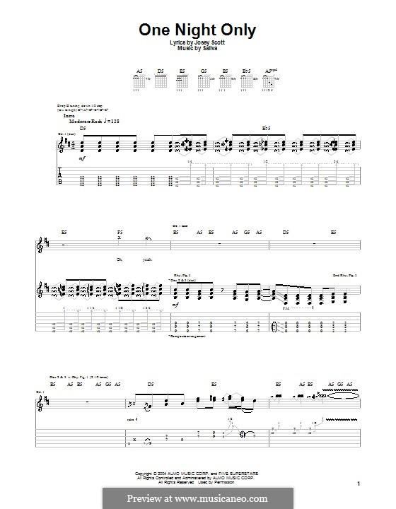 One Night Only (Saliva): Für Gitarre mit Tab by Josey Scott