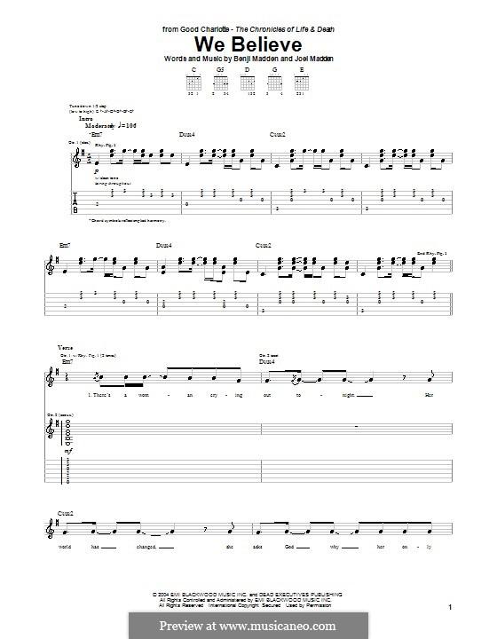 We Believe (Good Charlotte): Für Gitarre mit Tabulatur by Benji Madden, Joel Madden
