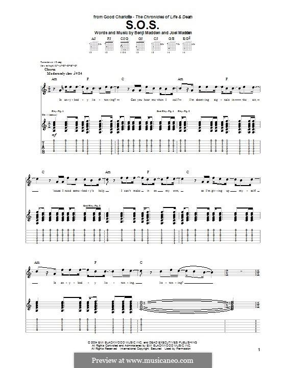 S.O.S. (Good Charlotte): Für Gitarre mit Tabulatur by Benji Madden, Joel Madden