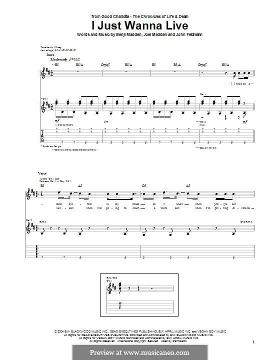 I Just Wanna Live (Good Charlotte): Für Gitarre mit Tabulatur by Benji Madden, Joel Madden, John Feldmann