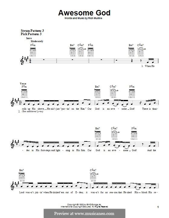 Awesome God: Für Gitarre (Sehr leichte Fassung) by Rich Mullins