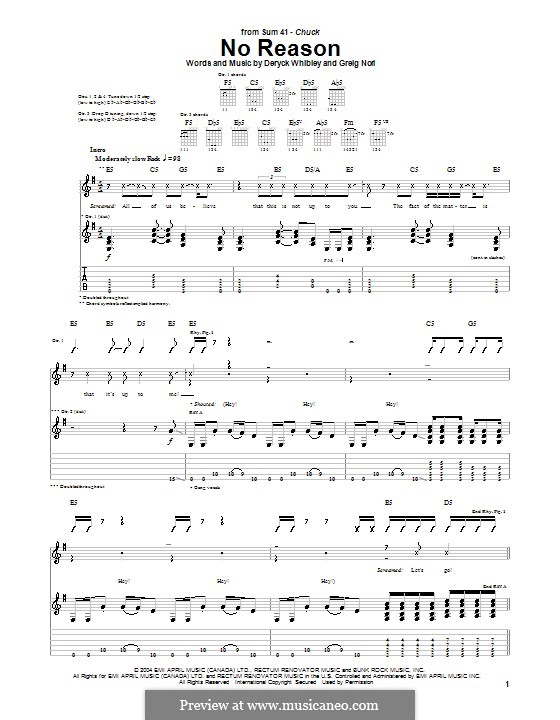No Reason (Sum 41): Für Gitarre mit Tab by Deryck Whibley, Greig Andrew Nori