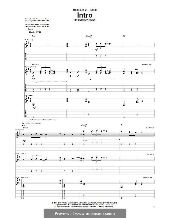 Intro (Sum 41): Für Gitarre mit Tab by Deryck Whibley