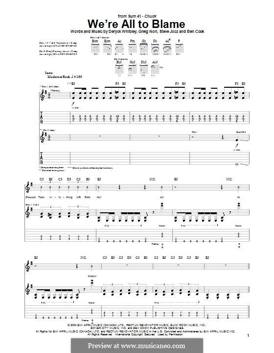 We're All to Blame (Sum 41): Für Gitarre mit Tabulatur by Ben Cook, Deryck Whibley, Greig Andrew Nori, Steve Jocz