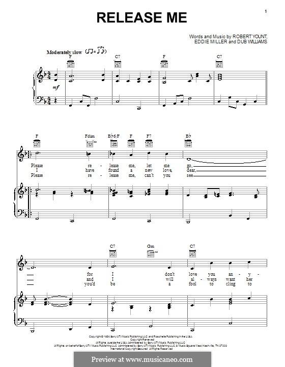 Release Me (Engelbert Humperdinck): Für Stimme und Klavier (oder Gitarre) by Dub Williams, Eddie Miller, Robert Yount