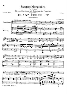 Sängers Morgenlied, D.163: G-Dur by Franz Schubert