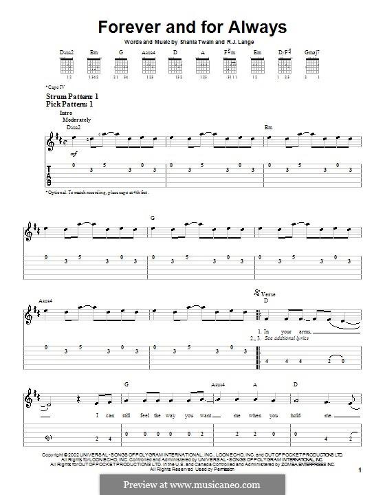 Forever and for Always: Für Gitarre (Sehr leichte Fassung) by Robert John Lange, Shania Twain