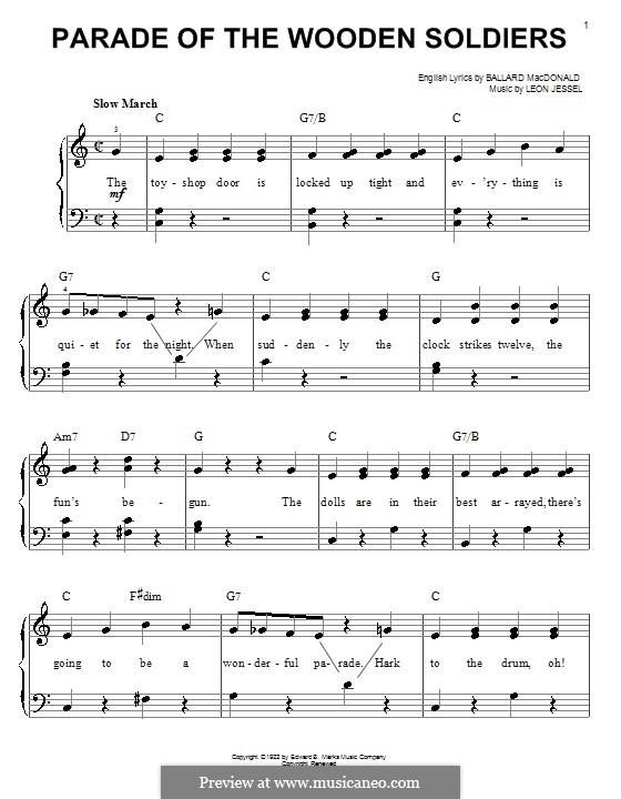 Parade of the Wooden Soldiers: Einfache Noten für Klavier by Leon Jessel