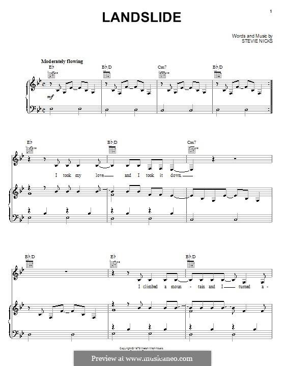 Landslide (Fleetwood Mac): Für Stimme und Klavier (oder Gitarre) by Stevie Nicks