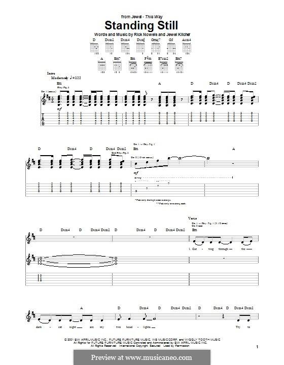 Standing Still (Jewel): Für Gitarre mit Tabulatur by Jewel Kilcher, Rick Nowels