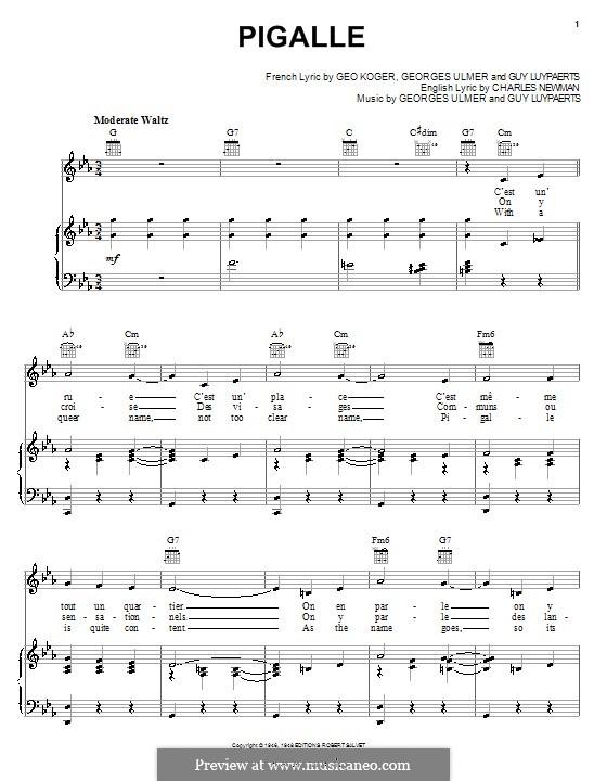 Pigalle: Für Stimme und Klavier (oder Gitarre) by Georges Ulmer, Guy Luypaerts