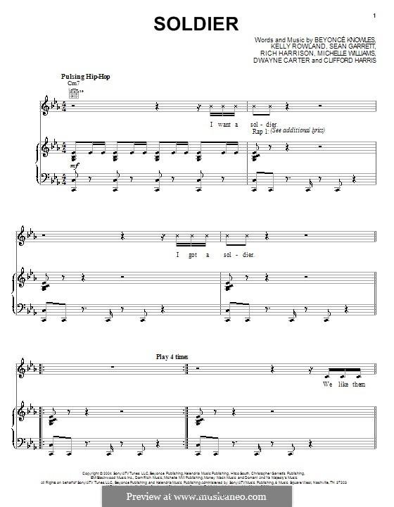 Soldier (Destiny's Child): Für Stimme und Klavier (oder Gitarre) by Beyoncé, Clifford Harris, Dwayne Carter, Kelly Rowland, Michelle Williams, Rich Harrison, Sean Garrett