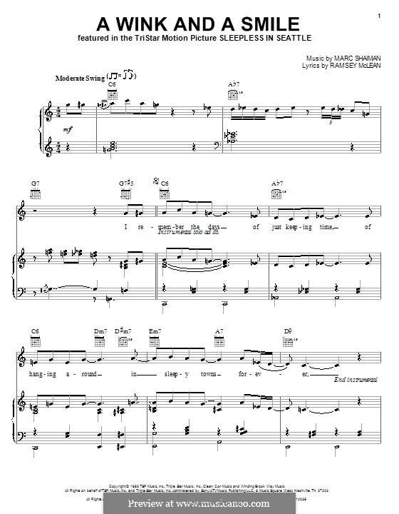 A Wink and a Smile (from Sleepless in Seattle): Für Stimme und Klavier (oder Gitarre) by Marc Shaiman