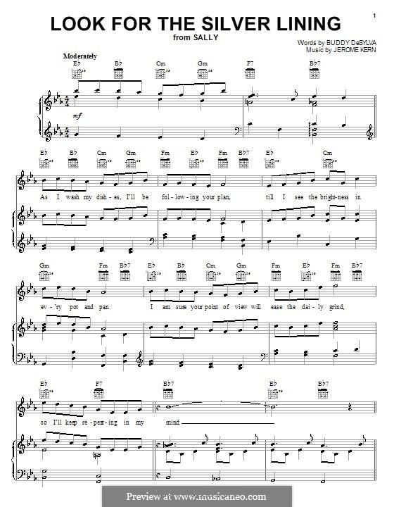 Look for the Silver Lining: Für Stimme mit Klavier oder Gitarre (Judy Garland) by Jerome Kern