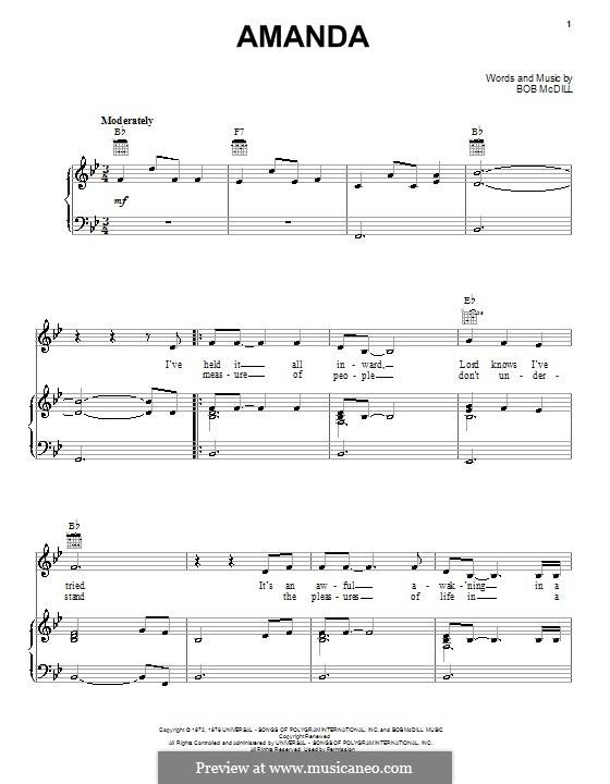 Amanda (Waylon Jennings): Für Stimme und Klavier (oder Gitarre) by Bob McDill