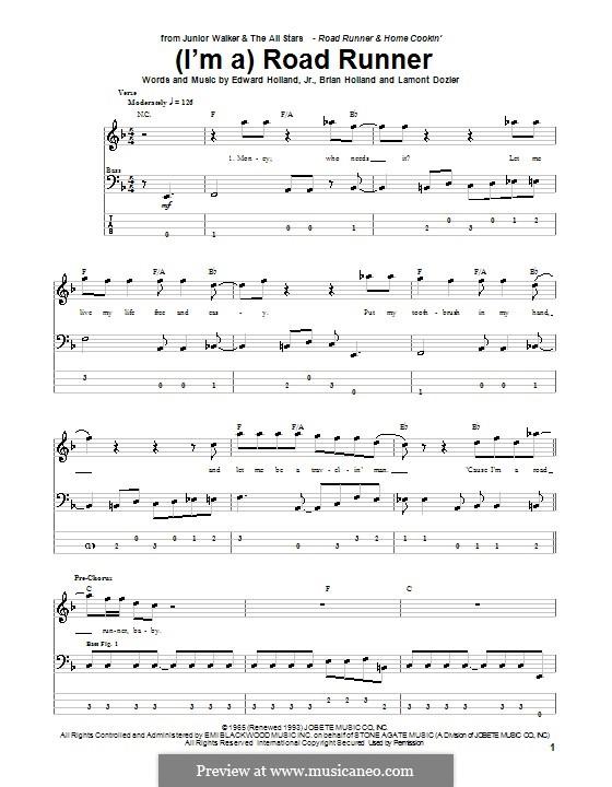 (I'm A) Road Runner (Junior Walker & the All Stars): Für Bassgitarre mit Tabulatur by Brian Holland, Edward Holland Jr., Lamont Dozier