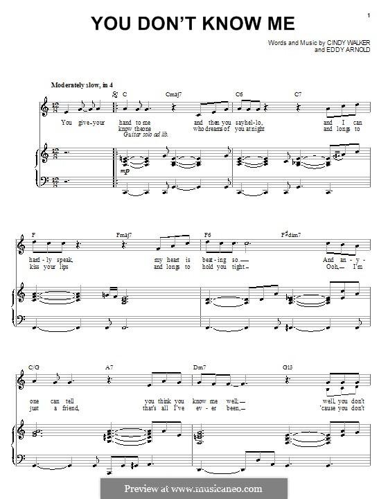 You Don't Know Me: Für Stimme und Klavier oder Gitarre (Michael Buble) by Cindy Walker, Eddy Arnold