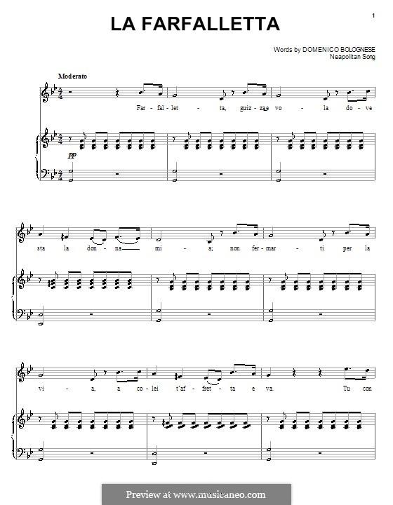 La farfalletta: Für Stimme und Klavier (oder Gitarre) by folklore