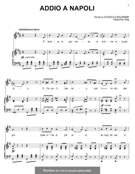 Addio a Napoli: Für Stimme und Klavier (oder Gitarre) by folklore