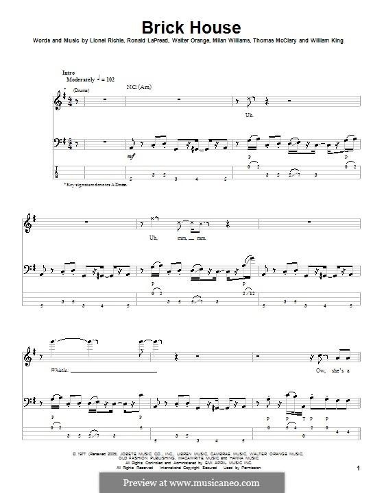 Brick House (The Commodores): Für Bassgitarre mit Tabulatur by Lionel Richie, Milan Williams, Ronald LaPread, Thomas McClary, Walter Orange, William King