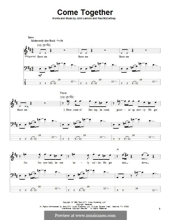 Come Together (The Beatles): Für Bassgitarre mit Tabulatur by John Lennon, Paul McCartney