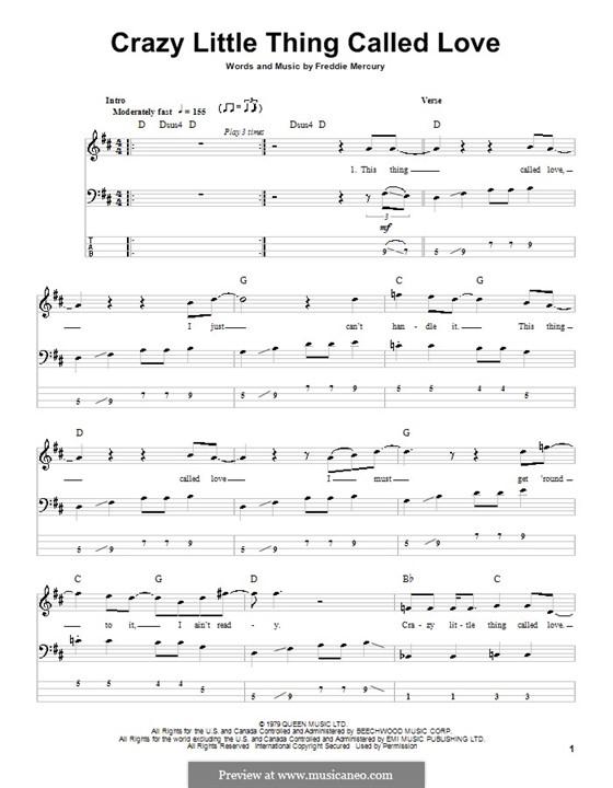 Crazy Little Thing Called Love (Queen): Für Bassgitarre by Freddie Mercury