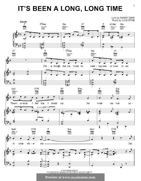 It's Been a Long, Long Time: Für Stimme und Klavier (oder Gitarre) by Jule Styne