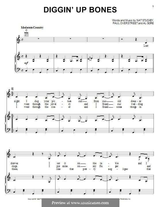 Diggin' Up Bones (Randy Travis): Für Stimme und Klavier (oder Gitarre) by Al Gore, Nat Stuckey, Paul Overstreet