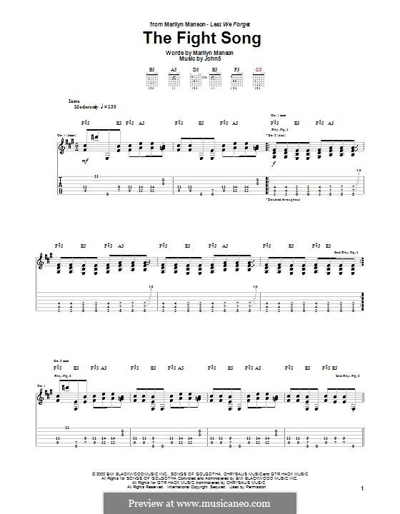 The Fight Song (Marilyn Manson): Für Gitarre mit Tabulatur by Brian Warner, John Lowery