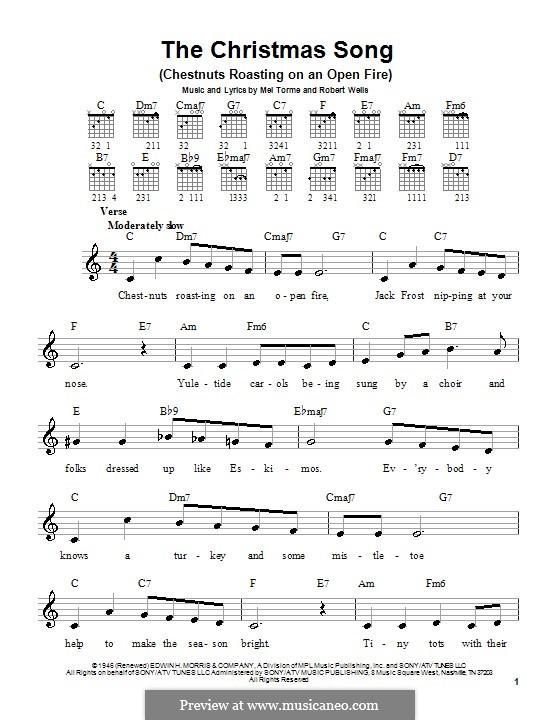 The Christmas Song (Chestnuts Roasting on an Open Fire): Für Gitarre (Sehr leichte Fassung) by Mel Tormé, Robert Wells