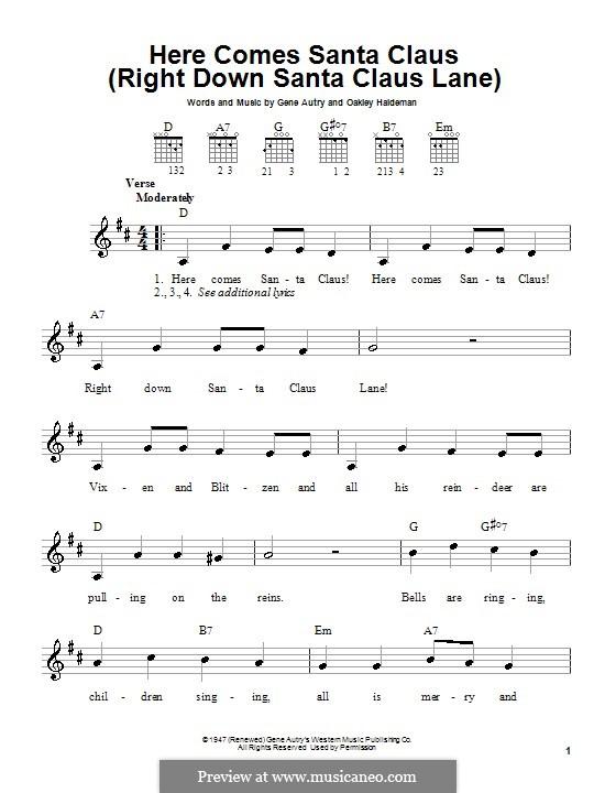 Here Comes Santa Claus (Right Down Santa Claus Lane): Für Gitarre (Carpenters) by Gene Autry, Oakley Haldeman