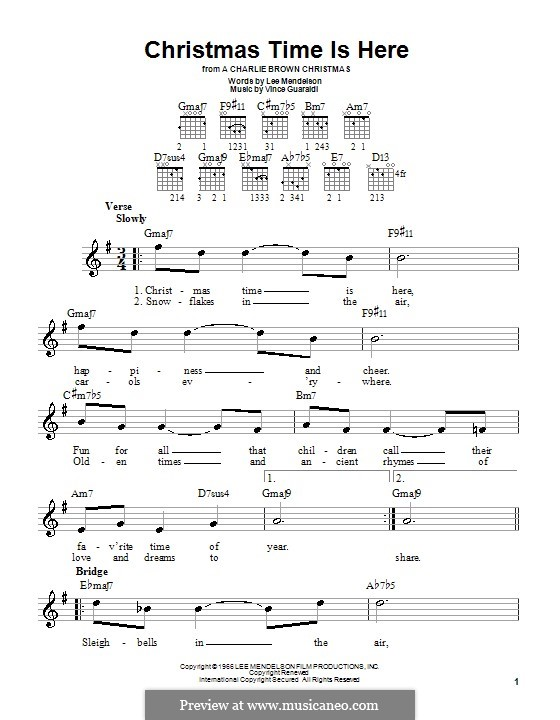 Christmas Time is Here: Für Gitarre (Sehr leichte Fassung) by Vince Guaraldi