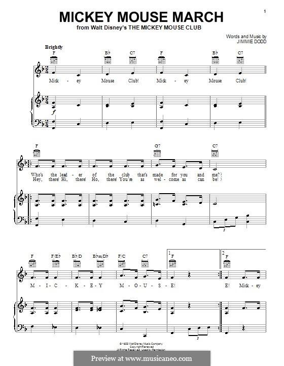 Mickey Mouse March: Für Stimme und Klavier (oder Gitarre) by Jimmie Dodd