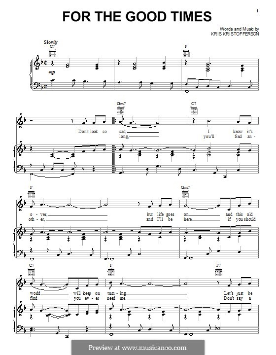 For the Good Times (Ray Price): Für Stimme und Klavier (oder Gitarre) by Kris Kristofferson