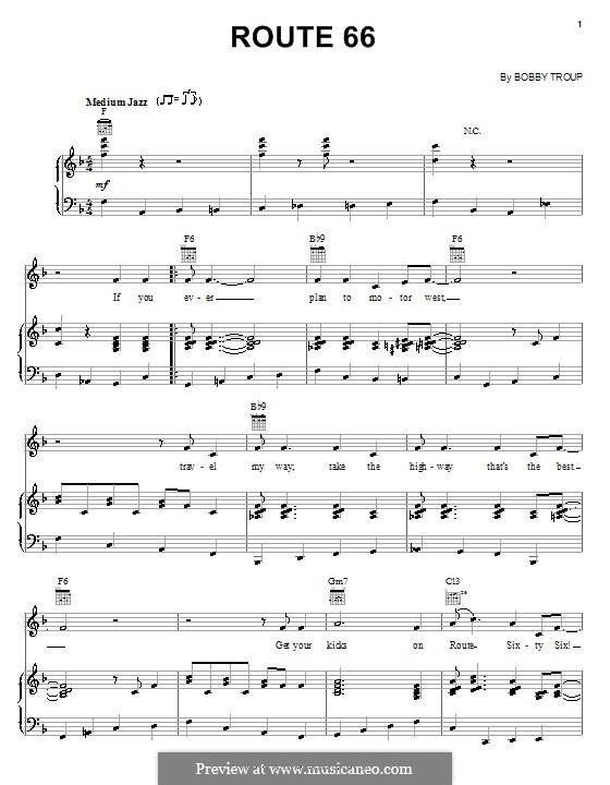 Route 66: Für Stimme und Klavier (oder Gitarre) by Bobby Troup