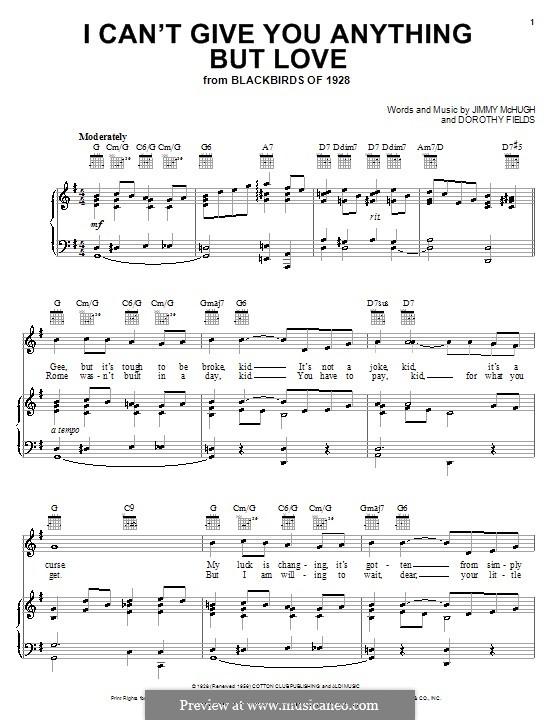 I Can't Give You Anything But Love: Für Stimme mit Klavier oder Gitarre (Ella Fitzgerald) by Jimmy McHugh